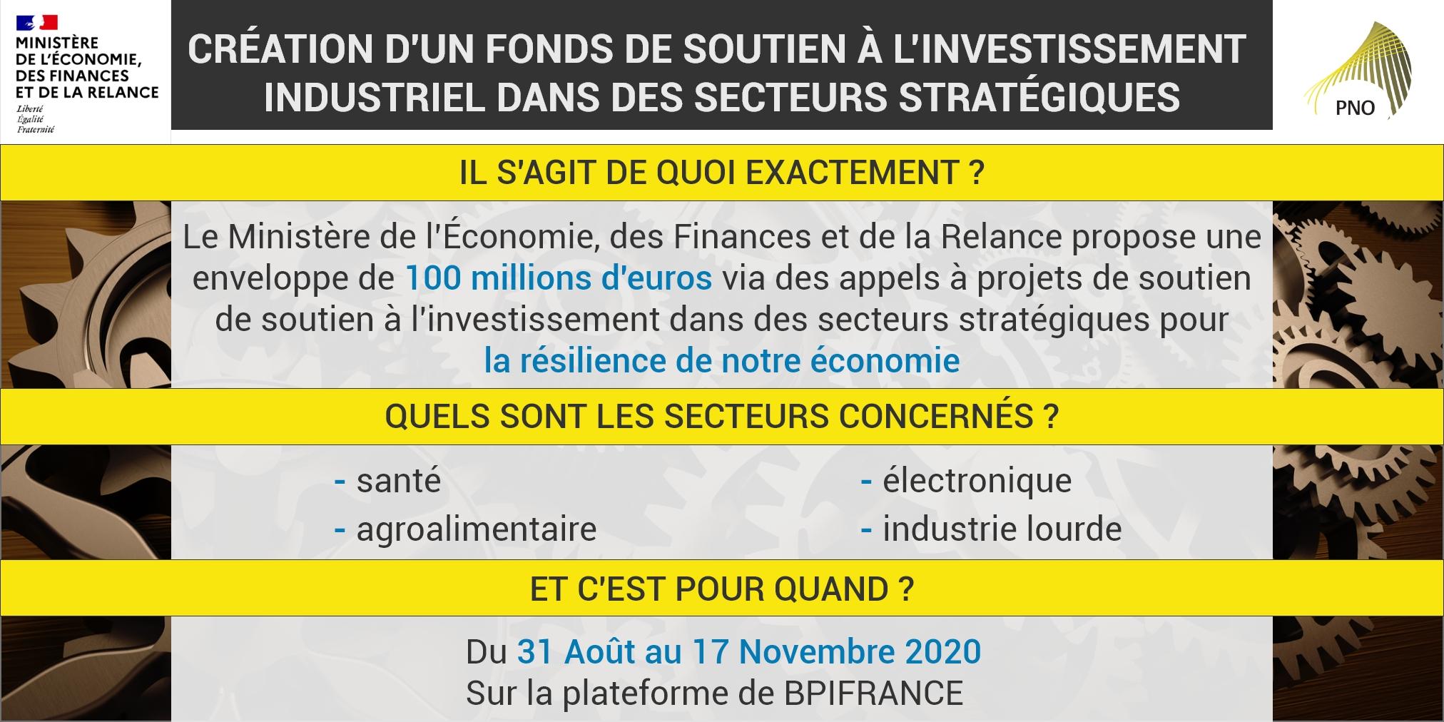 Création d'un fonds de soutien à l'investissement industriel